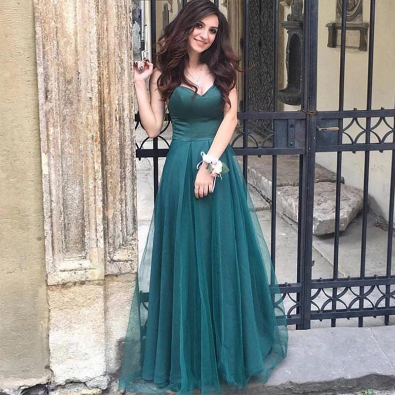 Robes de demoiselle d'honneur vert foncé pas cher décolleté chérie jupe en Tulle ligne robe de demoiselle d'honneur robe de soirée Simple de mariage