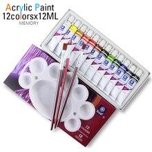 Высокое качество акриловая краска s туба набор для дизайна ногтей краски инструмент для рисования для художников 12 мл 12 цветов предлагаем кисти для краски бесплатно