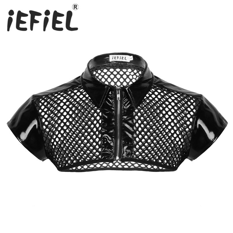iEFiEL Fashion Sexy Male Mens See Through Fishnet Cap Sleeve Splice Shoulder Chest Harness Shirt Muscle Clubwear Half Tank Top