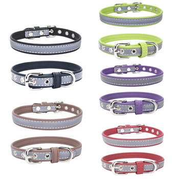 (50 Pieces/Lot) 6 Sizes 5 Colors Dog Collar Soft Leather Reflective Safety In Night Collar for Small Medium and Large Dogs