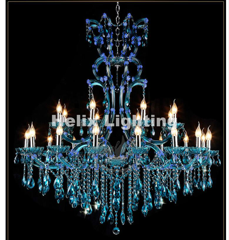 Free Shipping Modern Blue Chandeliers Crystal Vintage Crystal Chandelier 24L Hotel Lighting Pendelleuchte Lamp For Home Lights