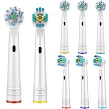8 шт. крестовые функции и 3D PRO Белые сменные насадки для зубных щеток Oral B головки для зубных щеток подходят для зубных щеток Oral B Braun