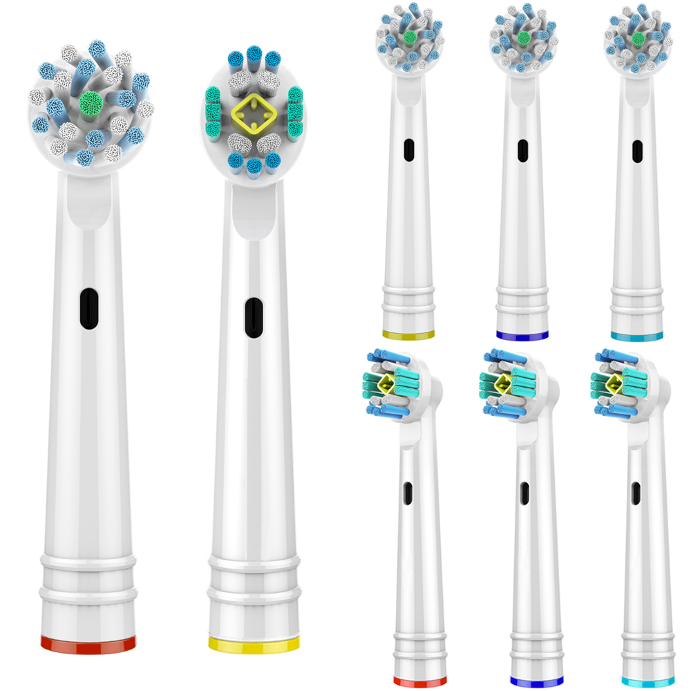 8 PCS Cross Function and 3D PRO White Replacement Toothbrush Heads for Oral B Toothbrush Heads fit Oral B Braun Toothbrush image
