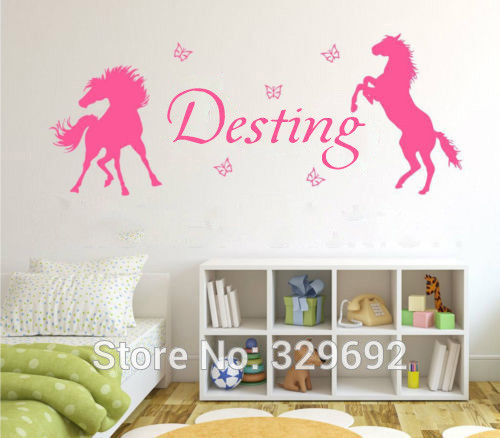 nursery Horses & Butterflies Vinyl art,Girls Personalised Name wall stickers for Kids room Decor ...