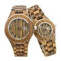 Bewell madeira mulher relógios de pulso para senhoras top de luxo da marca 2016 caixa de relógio de pulso dos homens de quartzo relógios do amante casal 100a 1-piece