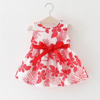 Colete de Malha de verão Do Bebê Meninas Vestido de Teste Padrão de Flor Criança Moda Sem Mangas Cinto Decoração da Festa de Aniversário Vestido de Recém-nascidos Roupas
