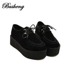 2016 Fashion Black Suede British Goth Punk Creepers Flats shoes Lace up Skull Boat Shoes Harajuku platform shoes platform shoes