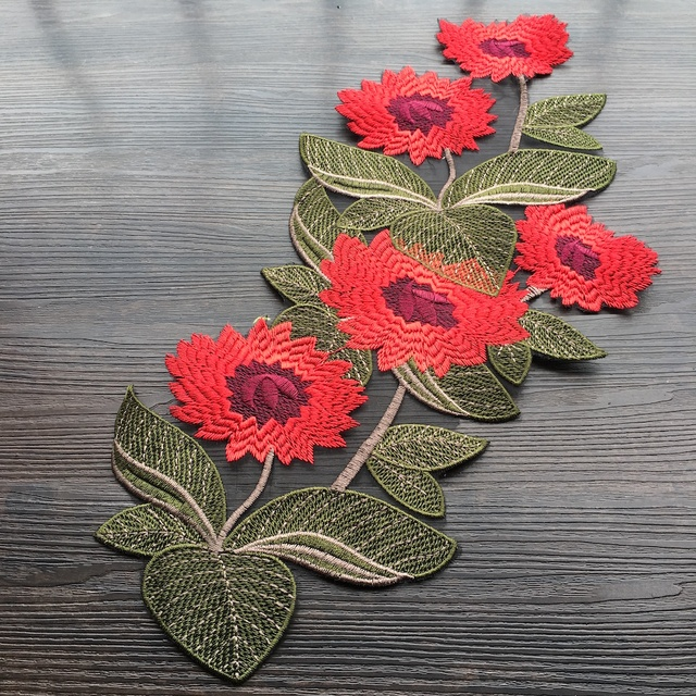 1pcs Flower Floral Applique Embroidery Patches For Clothing Appliques  Flores Bordadas Atacado Sewing Flower Patches LQW1767