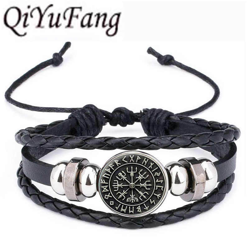 QiYuFang Norse Viking Cross in Rune Circle Pendant Leather Bracelet Jewelry Black Multilayers Charm Bracelets Women Men 1pcs/lot