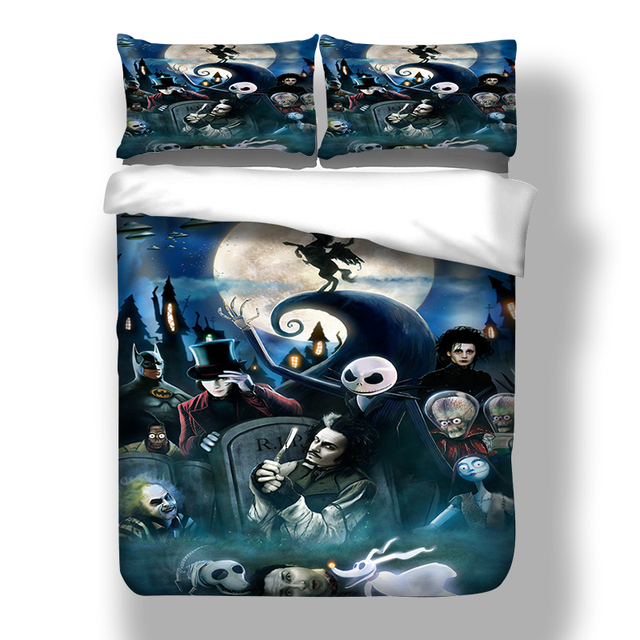 cartoon 3d nightmare before christmas bedding set 3pcs blue night moon and skull duvet - Nightmare Before Christmas Bedding Queen