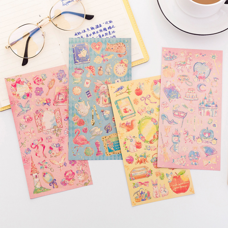 Beautiful Fairy Princess Bronzing Paper Sticker DIY Diary Decorative Seal Sticker Album Scrapbooking Stationery