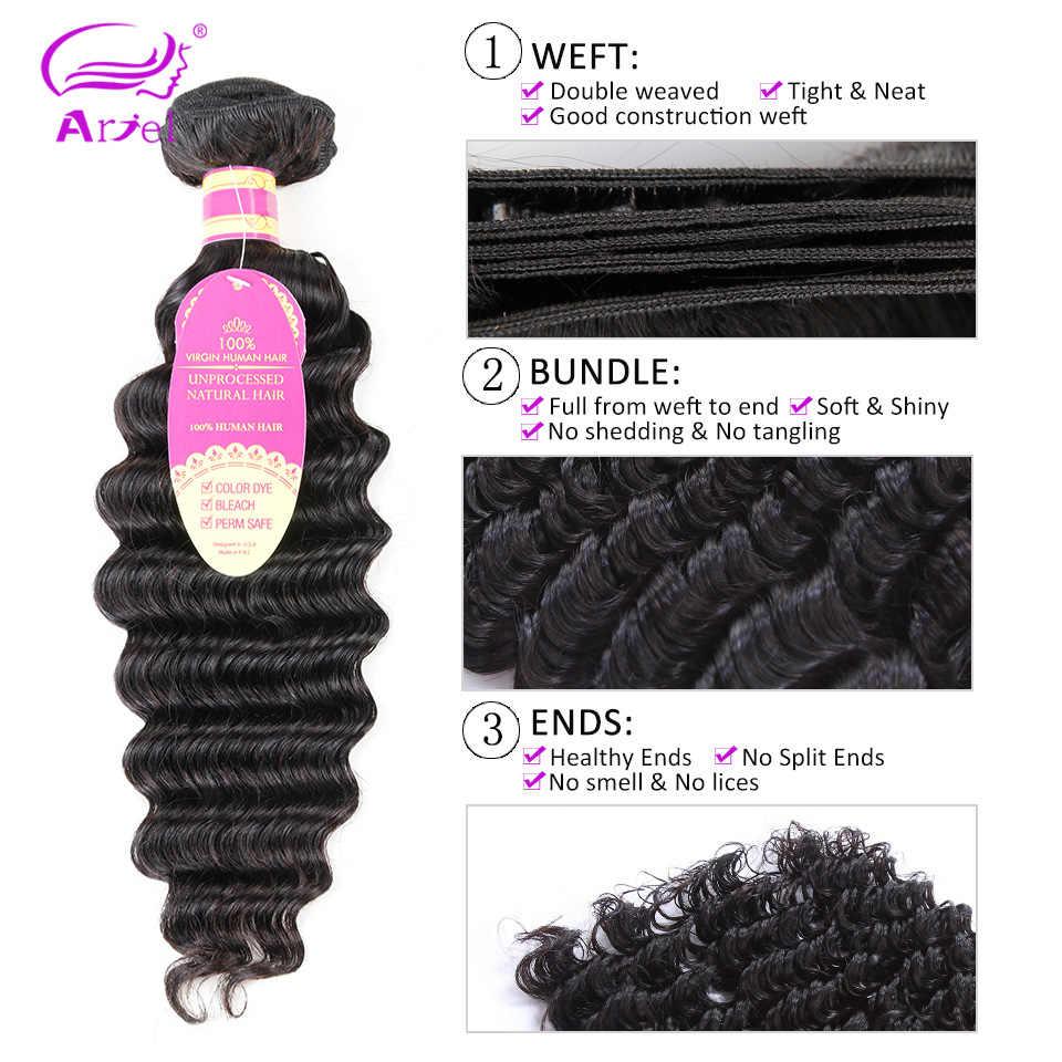 Ariel Peruvian Deep Wave Hair Weave 4/3 Bundles With Closure Free Part Non Remy Human Hair Bundles With Closure Natural Color