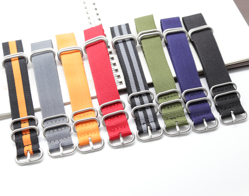 1PCS Heavy Duty Nylon Straps 20mm 22mm 24mm Nylon Watch Band NATO Strap Zulu Strap Watch Strap Ring Buckle -BD086