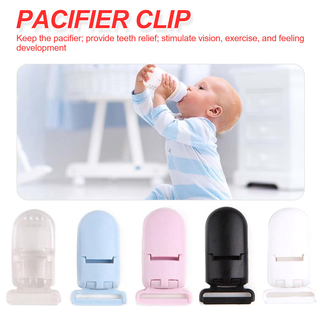 5pcs 40*17mm Plastic Baby Pacifier Clips Transparent Pacifier Clips Soother Holder For Baby Pacifier Nipples Holder Round Clamp