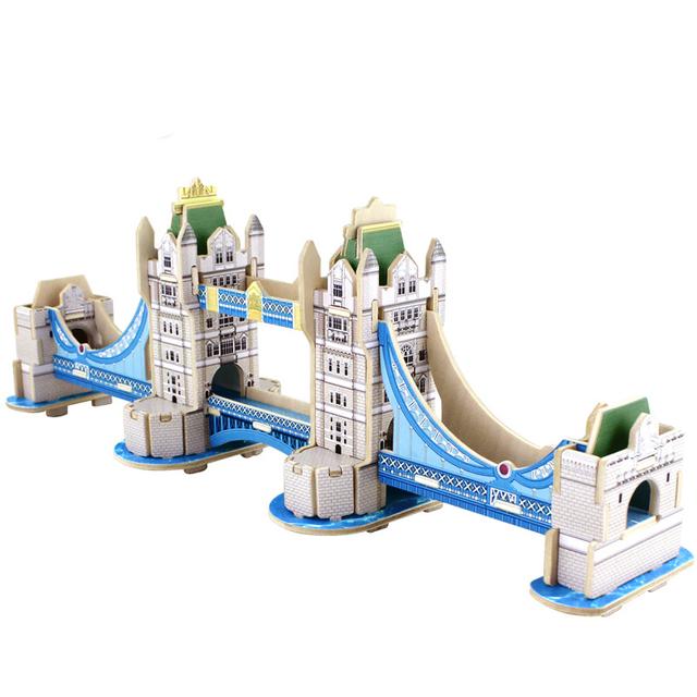 3D de Madeira Quebra-cabeças Cúbicos De Madeira Do Mundo do Enigma Blocos de Construção Crianças Brinquedos Educativos Presente London Bridge