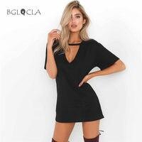 2017 Summer Long Women Tshirt Fashion O Neck Tops Tees T Shirts Cut Out V Casual