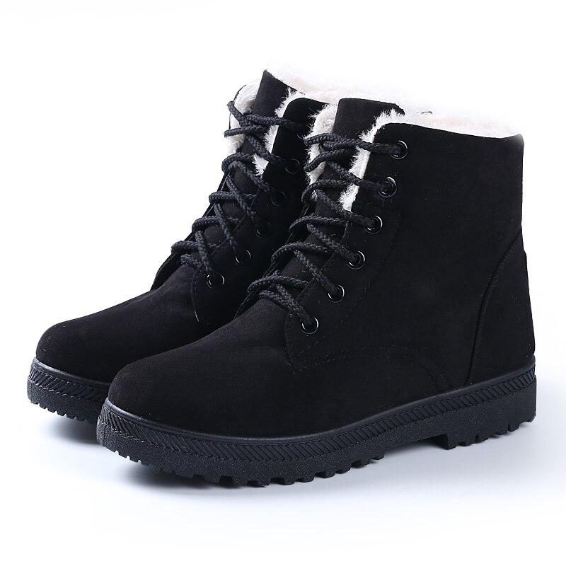 Women Boots New Winter Women Warm Flock Fur Snow Boot Women Shoes Black Plus Size 35 43,Black,9.5