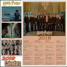 Harry potter 2018 calendar poster Vintage Antique Posters Wall Sticker Home Decora Part 1(China)