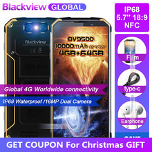 "Fast shipping for Christmas Blackview BV9500 10000mAh IP68 Waterproof  NFC 5.7""18:9 4G global Smartphone 64G MT6763T Android 8.1(China)"