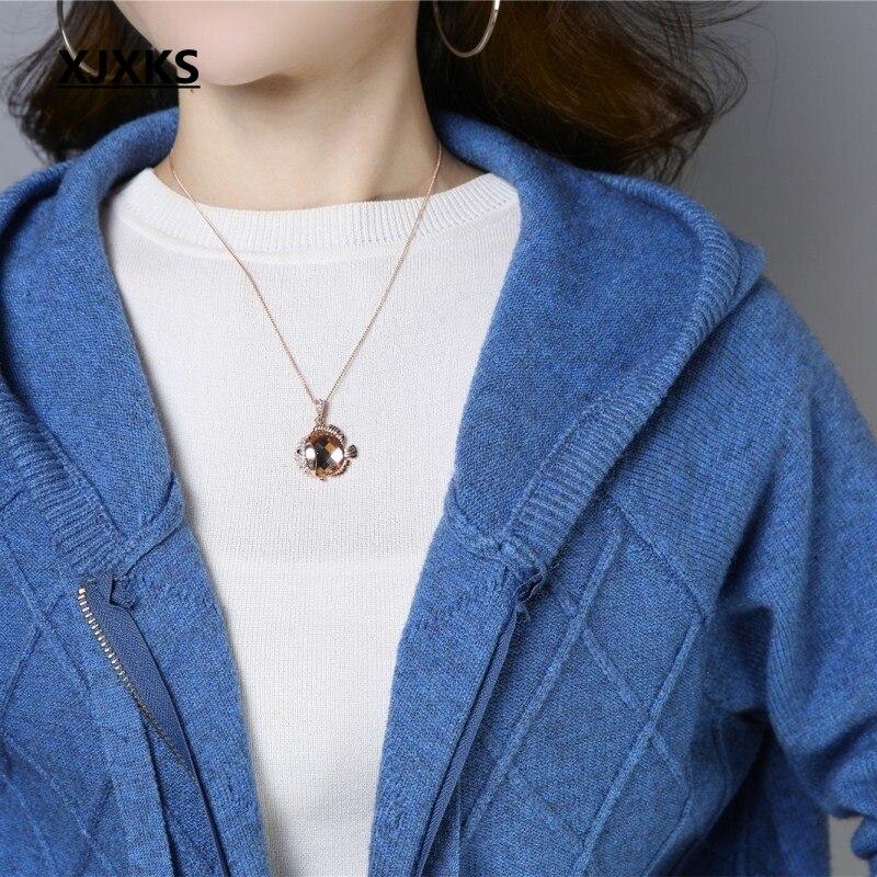 XJXKS jersey mujer cárdigan de buena calidad abrigo de mujer con capucha de marca de diseño cómodo de lana de punto para mujer cárdigan suéter-in Caquetas de punto from Ropa de mujer    3