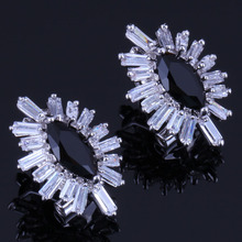 Gorgeous Marquise Black Cubic Zirconia White CZ 925 Sterling Silver Clip Hoop Huggie Earrings For Women V0895