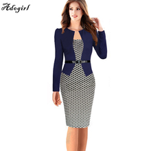 Autumn Style Dress 2017 Fashion Sheath Office Lady Clothing Women Colorblock Wear to Work Business Party Bodycon One-piece Dress