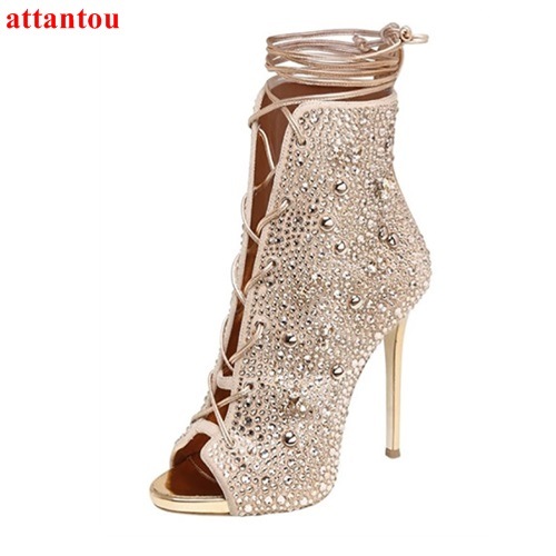 Beautiful elegant champagne peep toe women boots thin high heel crystal lace up booties 2017 newest ankle high party dress shoes trendy buckle style cut out thin heel sandal booties sexy pointy stiletto heel ankle boots elegant women burgundy suede booties