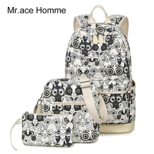 Set Backpack Women Animal Owl Printing Backpack Canvas Bookbags School Backpacks Bags for Teenage girls Bagpack Backbag