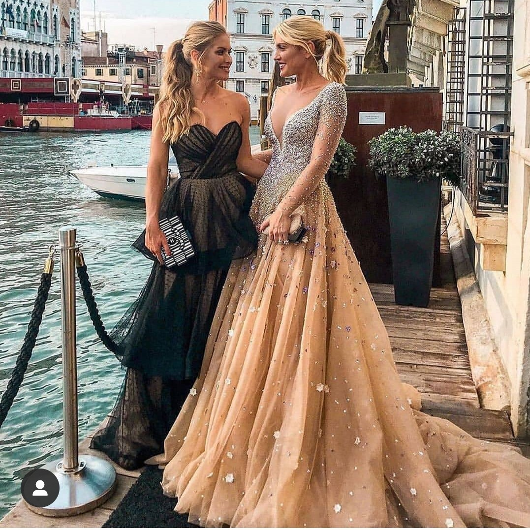 Champagne   Prom     Dress   2019 Long Sleeve Evening Gowns A-line   Prom     Dresses   Beaded Sequins Formal Party Plus Size 3D Applique