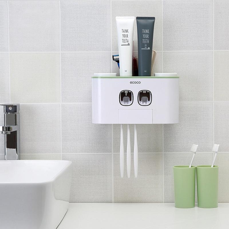 Creative อัตโนมัติยาสีฟัน Squeezers ห้องน้ำยาสีฟันผู้ถือแปรงสีฟันถ้วย Wall Mount ซักผ้าชุด
