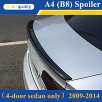 A4 B8 S4 Style Carbon Fiber Spoiler For Audi A4 B8 2009 2012 Rear Trunk Spoiler Wing For Audi A4 A4L B8 4 Door Sedan only