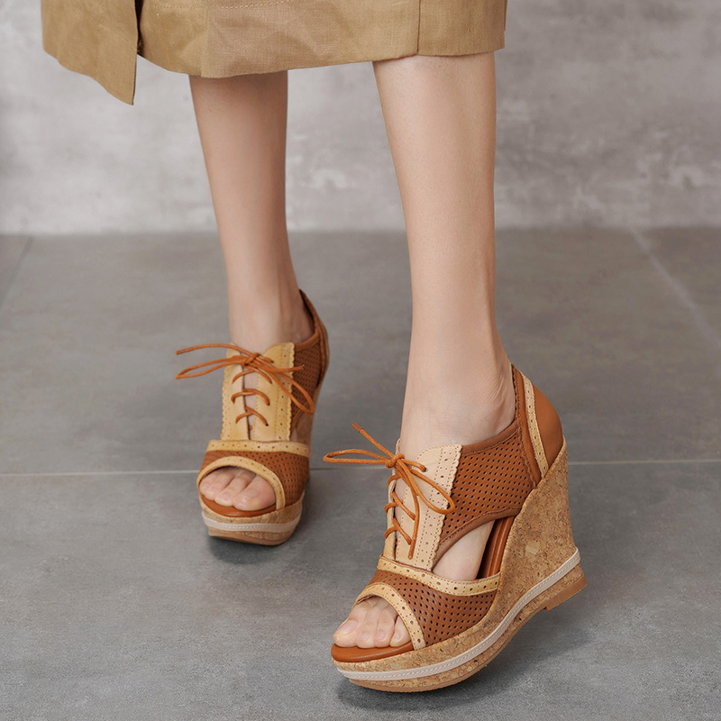 VALLU Peep Toe Shoes Woman Wedges Sandals Lace Up Mixed Color Vintage Cowhide Leather Female Platform