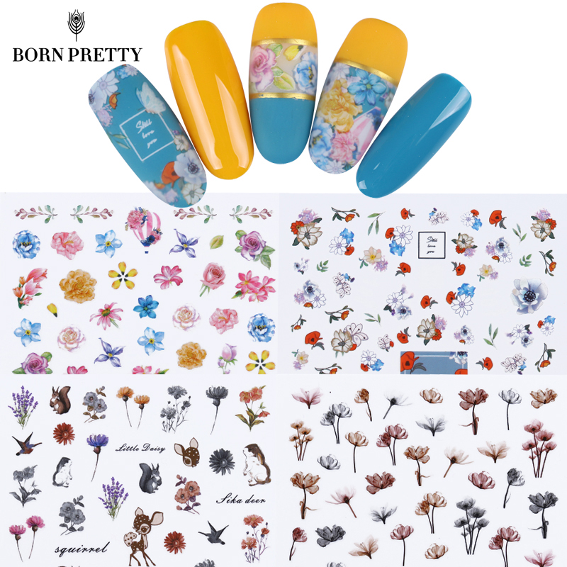 12 Sheets Flower Series 3D Nail Sticker Set Rose Butterfly Daisy Nail Art Adhesive Transfer Sticker Manicure Accessories