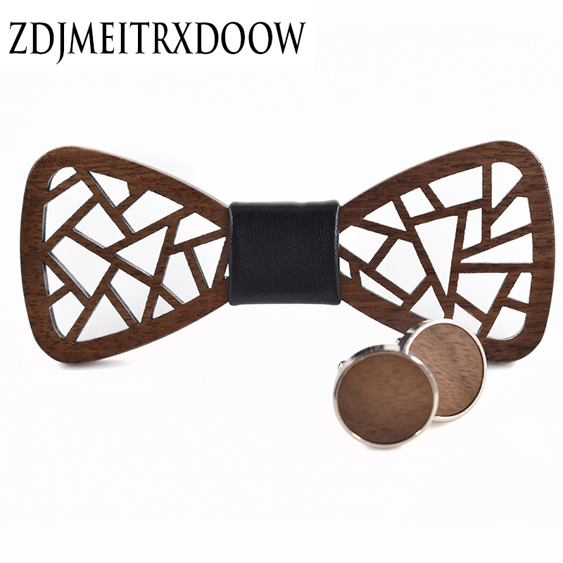 2017New package irregular wooden bow tie carved high-end men's wedding casual fashion novelty wooden bow tie for man