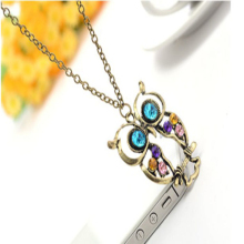 New Women Girl Fashion Dress Populer Jewelry High Quality 1Pc Crystal Big Blue Eyed Owl Long Chain Pendant Sweater Necklace