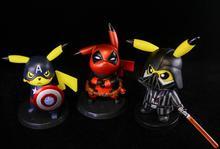 Pikachu Cosplay Deadpool Marvel Capitão América Darth Vader de Star Wars Dos Desenhos Animados Bolso Anime Action Figure PVC brinquedos