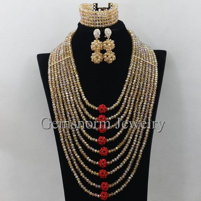 Hesiod Indian Wedding Jewelry Sets Gold Color Full Crystal: Elegant Gold African Beads Jewelry Set New Chunky Bib