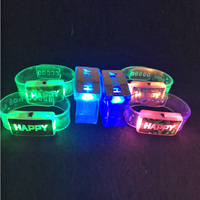 Led Dance Costume Leds 25pcs/lot Flashing Wristband With Happy Letters Colorful Bracelet Toys For Party Festival Ktv Decoration