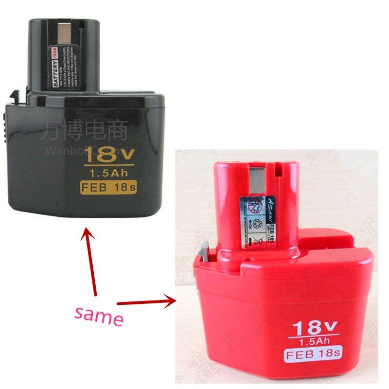 FEB18S ni-cd 18 V 1.5Ah remplacement de batterie pour HITACHI EB18S FEB18S FEB 24 S Machine-outil