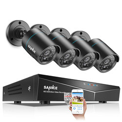 SANNCE 4CH 5-IN-1 DVR 720P Outdoor Weatherproof 2/4 PCS Security Camera Day/Night CCTV System Kit Video Surveillance System