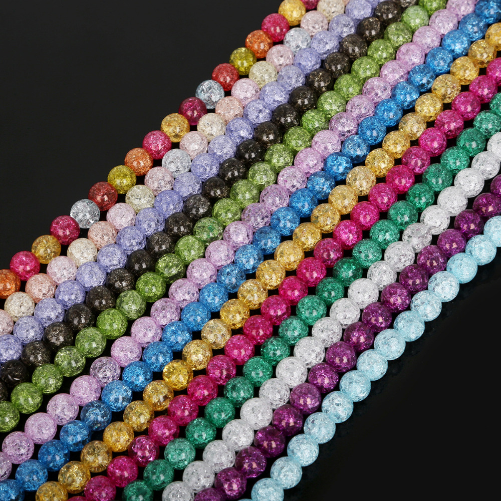 Hot Sell 6mm Round Loose Charm Crackle Art Crystal Glass Spacer Beads 50pcs