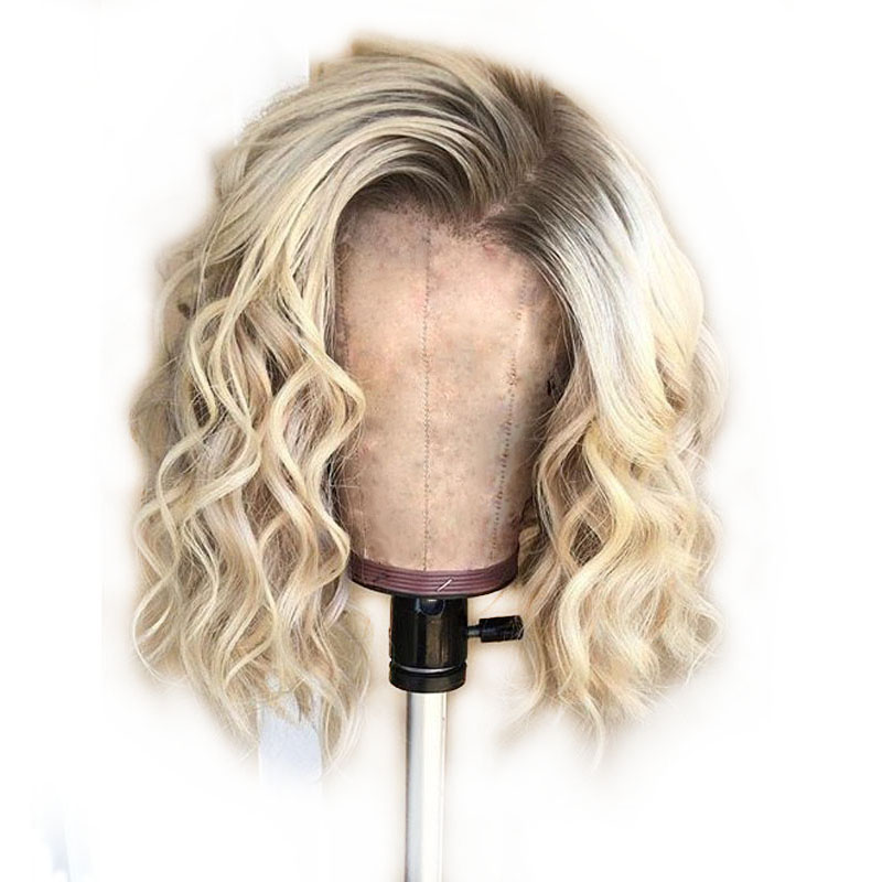 Summer Ombre 613 Blonde Bob Human Hair Wigs Short Loose Deep Wave Color Blunt Pixie Cut