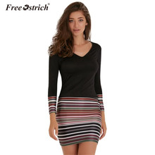 Free Ostrich Mini Dress Ladies Women Striped Boho Dress 2017 V-Neck Long Sleeve Dress Beach Party Bodycon Vestidos 4142