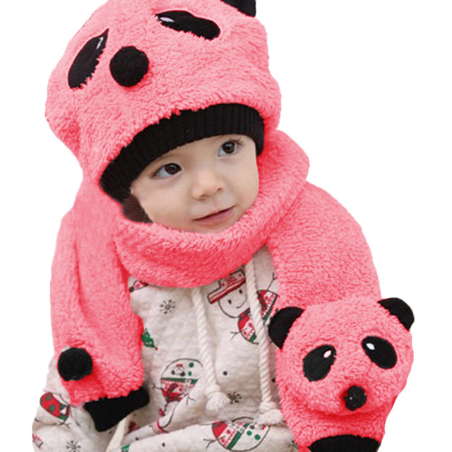 Panda winter hat and scarf for baby