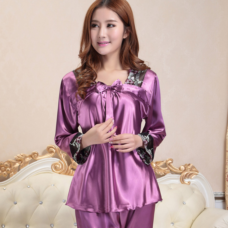 fashion sleepwear female women silk   pajamas   long-sleeve summer plus size spring and autumn   pajama     sets   lace sexy chiffon