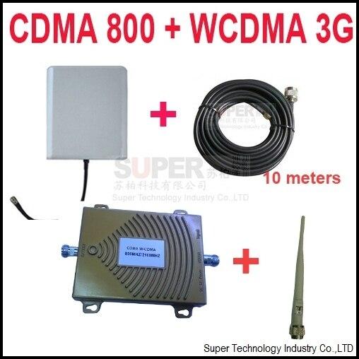 Dual band repetidor CDMA 800 Mhz Impulsionador + 3G WCDMA dual band Repetidor 3G impulsionador kits w/cable & antenas, dual band GSM impulsionador