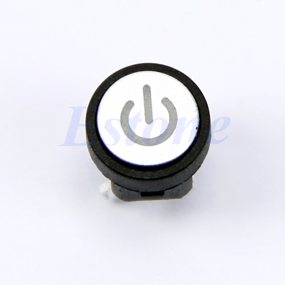 Blue Led Light Power Symbol Push Button Momentary Latching Computer ...