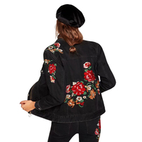 2018 Spring Autumn Women Black Denim Coats Embroidered Flower Long Sleeve Outerwear Zipper Casual Feminina Ladies