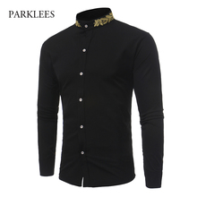 Brand Shirt Men Gold Leaves Embroidery Mens Dress Shirts Stand Collar Long Sleeve Slim Fit Cotton Male Shirts Chemise Homme 2017