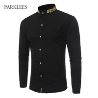 Brand Shirt Men Gold Leaves Embroidery Mens Dress Shirts Stand Collar Long Sleeve Slim Fit Cotton